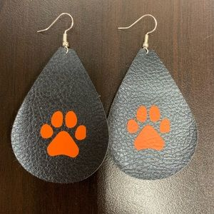 New leather tiger paw earrings